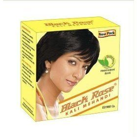 Black Rose Kali Mehandi by Black Rose. $4.75. Henna based powder hair dye. It is a henna based powder hair dye for coloring gray hair in black. It is Indias largest selling henna based powder hair dye. It is India's first powder hair dye to be accredited with ISI mark, which is a mark of quality issued by Govt. Inspection Agency. It has a very small content of chemical, which is less then 3% after dilution. Its color stays on hair for 20-25 days.