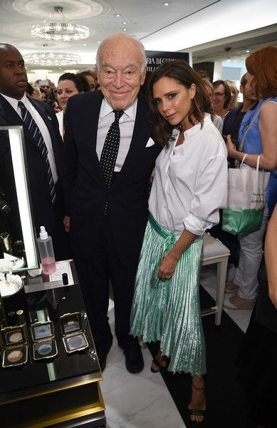 (L-R)   Chairman Emeritus, The Estee Lauder Companies, Leonard Lauder and Victoria Beckham attend the launch of the Victoria Beckham Estee Lauder makeup collection at Bergdorf Goodman on September 13, 2016 in New York City.