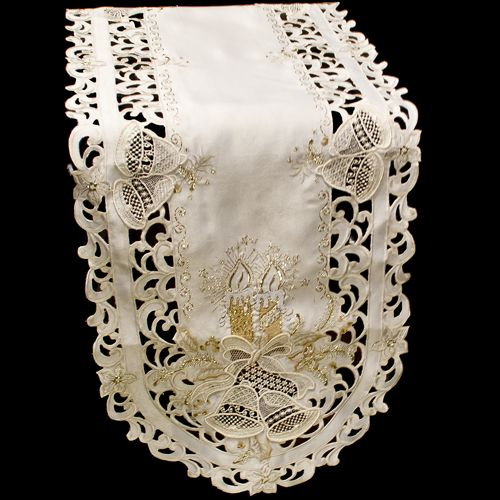 Gold Candle Lace Bell Table Runner