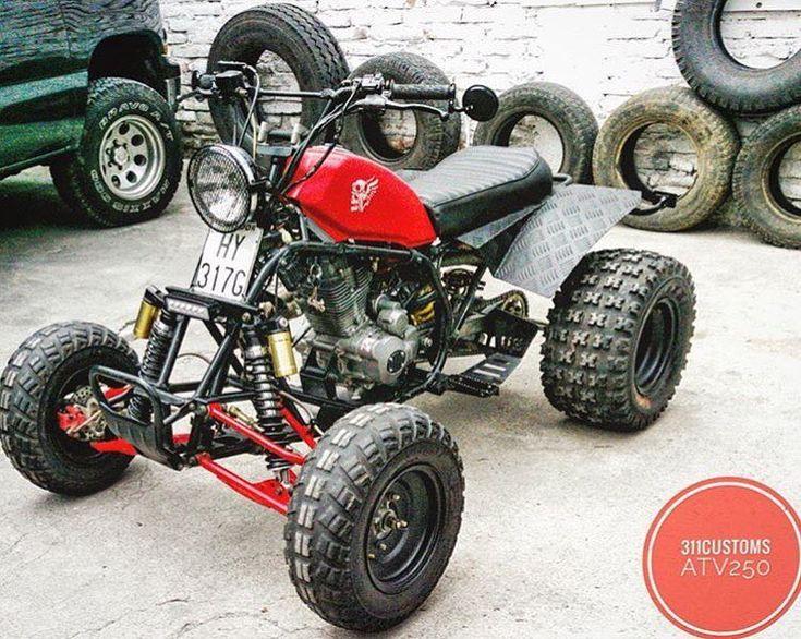 Street-legal custom quad by @311_customs. Four-wheeled scrambler! #atv #quad #4wheeler #scrambler