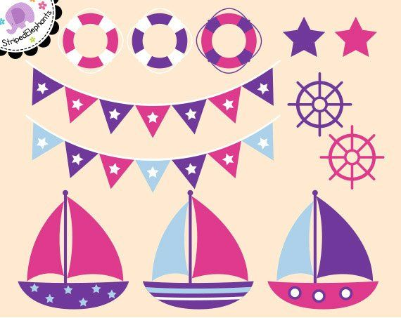 02b4e9c91f59d9 Nautical Clip Art - Sail Boat Clipart - Pink and Purple - Digital Clipart -  Instant Download - Comme   Products   Clip art, Nautical, Boat