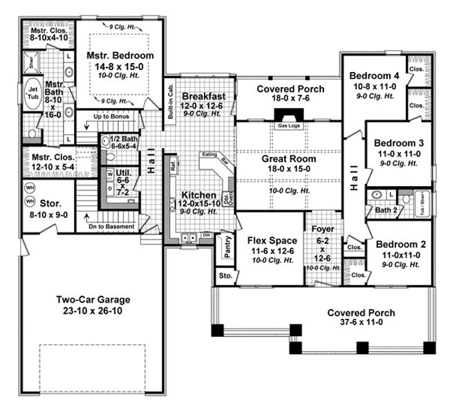 2284 sf one story 4 br 2 1 2 bath 2 car with optional for Room above garage plans