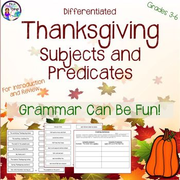 Who said grammar can't be fun???  Use the Differentiated Subject and Predicate Activities from It's a Teacher Thing to liven up your grammar lessons and student learning.Youll receive the following:*64-complete subject slips with solid borders (with an option of two levels-H and L)*64-complete predicate slips with dotted line borders (with an option of two levels-H and L) (The H slips (higher) may have helping verbs, infinitives, or conjugations of the verb to be)*1-worksheet for combining…