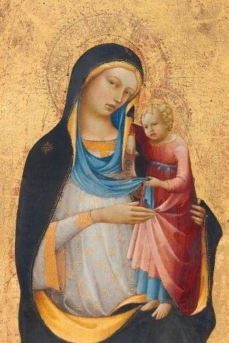 Painting by Lorenzo Monaco (ca 1370- ca 1422), 1413, Madonna and Child, tempera on panel. (Florentine)(NGA)