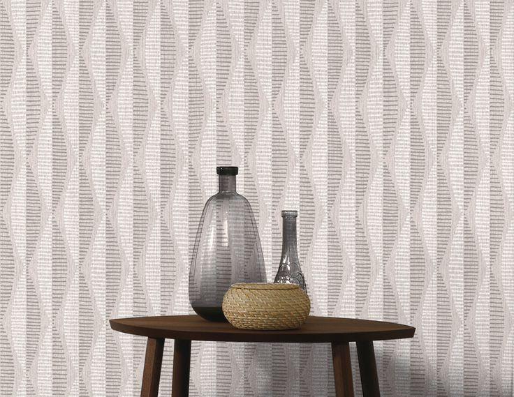 Tapeta winylowa na flizelinie w odcieniach szarości i geometrycznym wzorze. Idealnie nadaje się do wnętrz w skandynawskim stylu