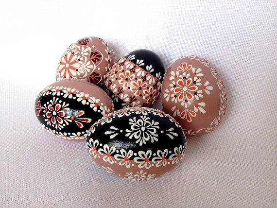 Set of 5 Brown Hand Decorated Colours Painted Chicken Easter Egg, Traditional Slavic Wax Pinhead Chicken Egg, Kraslice, Pysanka