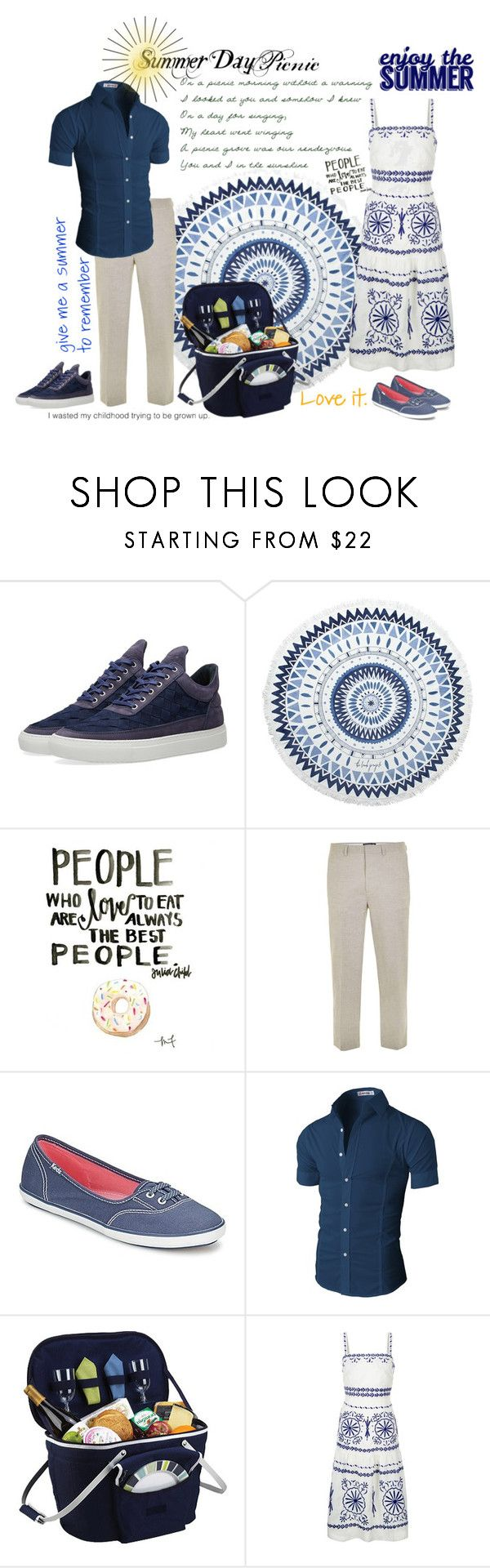 """""""Romantic Picnic - Summer Dress"""" by foreevers ❤ liked on Polyvore featuring Filling Pieces, The Beach People, Topman, Keds, Picnic at Ascot and Monsoon"""