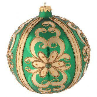 Bola de Navidad de vidrio soplado verde decoraciones oro 150 mm | venta online en HOLYART