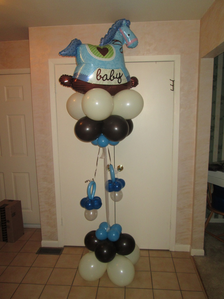 Baby Rocking Horse balloon column by www.Total-Party.com.  Can be customized in your colors for boy or girl or neutral.
