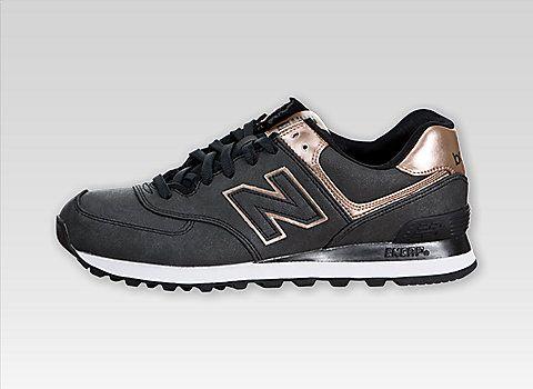 New Balance Women 574 (Precious Metals) charcoal/copper.
