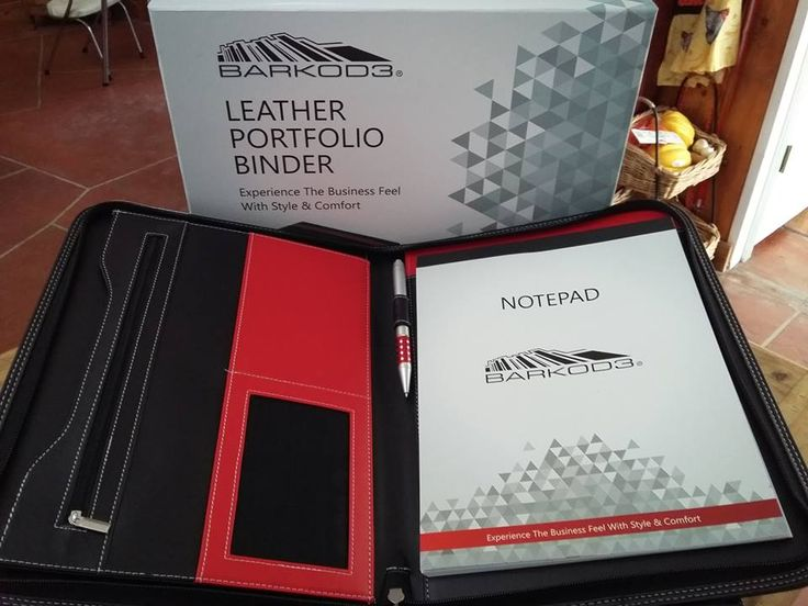 "Barkod3 Leather Portfolio in Black & Red. Legal document sized, apx 13x10"", plenty of pockets and slots. Smells like leather!"