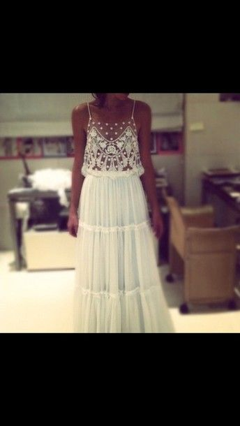 Dress: lace, indie, boho, boho chic, prom dress, maxi dress, white ...