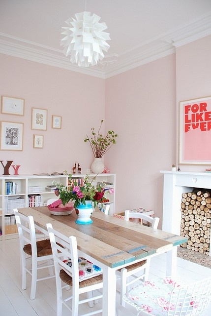 For Cindy. pink dining room - wood stacked - coloured table ends