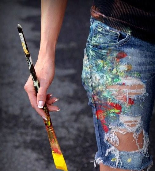 Original Hand Painted Clothing Denim Shorts Upcycled Hip Funk Hipster Art  Functional Wearable Art size 7 #art #wearableart