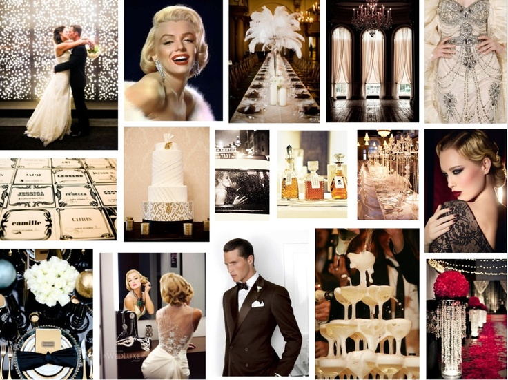 HOLLYWOOD GLAMOUR WEDDING  In honour of our Grace Kelly retrospective this week we thought a Vintage Hollywood Glamour mood board was called for today.  Can you feel it?  Live jazz music, the faint smell of Chanel No. 5, candlelight twinkling in exquisite crystal and the subtle sense that something amazing is about to happen?  We love Hollywood and these weddings are bang on trend. www.katherinecourtney.com
