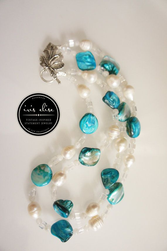 Freshwater Pearl Rainbow Moonstone & Glass Double Strand Necklace by iriselise, $29.99 -- 15% off on #cybermonday with coupon code #cybersfetsy!