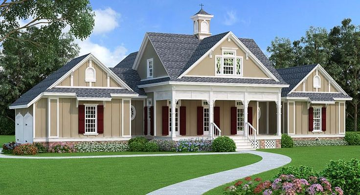 New Victorian Farmhouse Plan 76914 has 2,150 square feet of living space with 3 bedrooms, 2 full bathrooms and 1 half bath.  The welcoming exterior features ornate Victorian details with muti paned windows and gingerbread porch brackets. Pleasing country elements are included with a cupola and arched barn-style garage doors. Read more from our latest blog: http://blog.familyhomeplans.com/2016/05/new-victorian-farmhouse-plan/