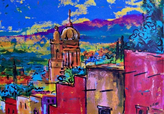 Original painting of view of Mexican town San by MyMexicanArt, $450.00
