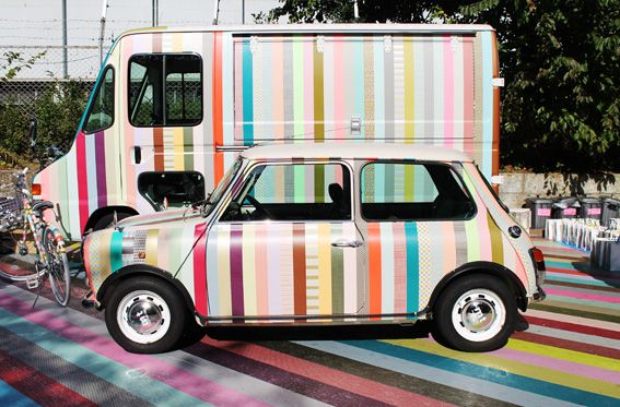 Car and van covered in Washi Tape