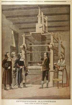 Joseph Marie Jacquard and the Jacquard Loom: Joseph Marie Jacquard demonstrating his loom.