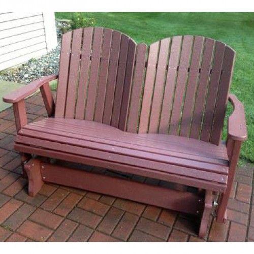 Amish Outdoor Furniture Barrel Back 4ft. Green Outdoor Glider