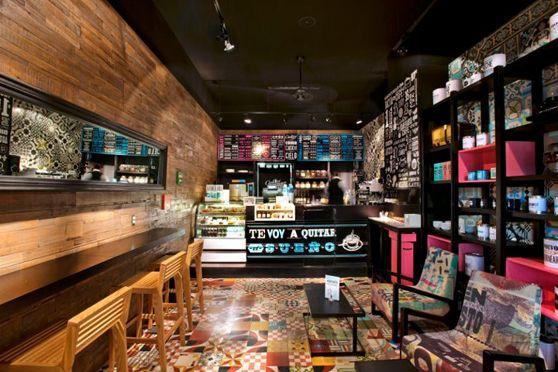 Decoraci n de estilo neoretro en la cadena de cafeteria - Decoracion de cafeterias ...