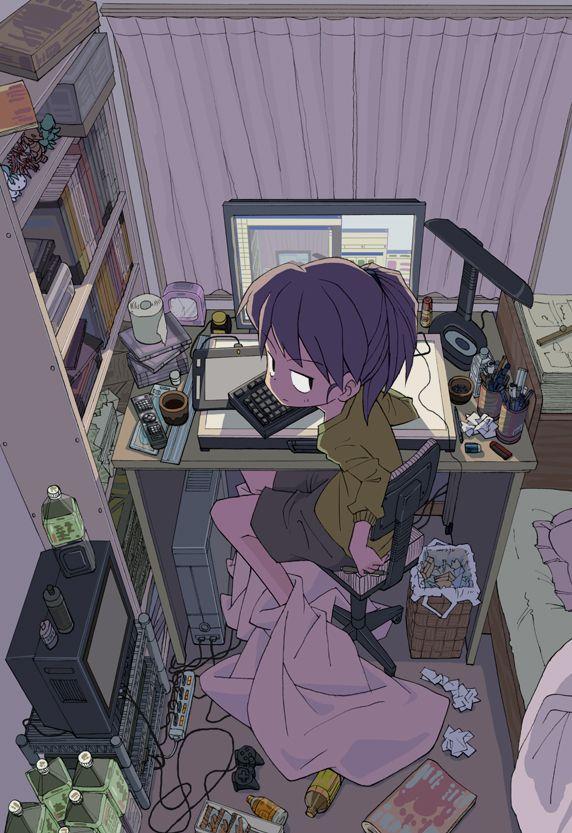 ✮ ANIME ART ✮ anime. . .otaku. . .nerd. . .computer. . .messy room. . .angry face. . .kawaii