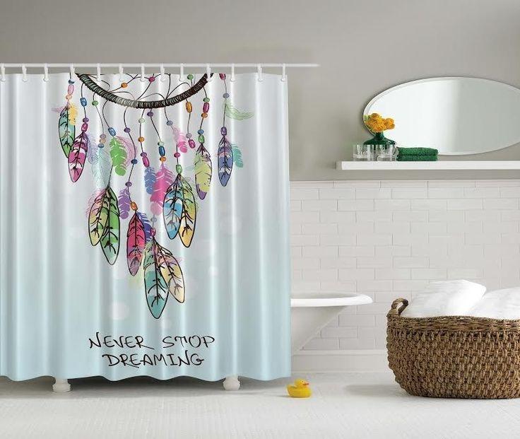 Dream Catcher Shower Curtain Set Fabric Non Vinyl Stall Liner Indian Feathers #VDGBathDesigns #AmericanIndianPattern