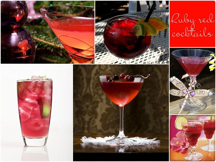 Red signature drinks, red martinis, red margaritas, red cocktails ideas for weddings