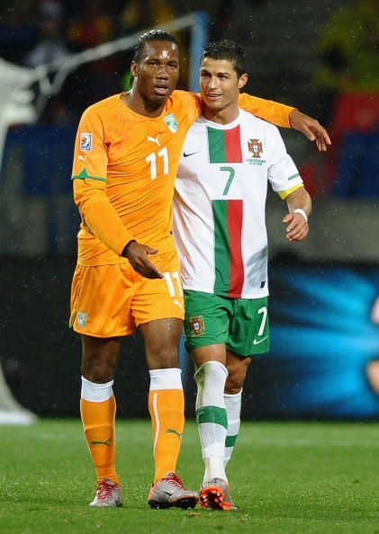 Drogba and Ronaldo with their national teams