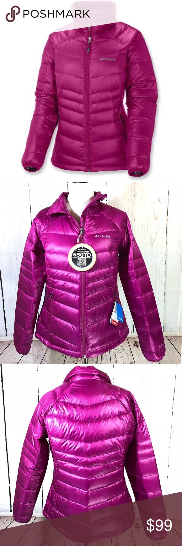 """NWT Columbia Pink 650 Turbo Down Puffer Jacket L NWT $150 Columbia Sz Large Pink 650 Turbo Puffer Down Jacket Omni Heat Thermal Omni-Heat Thermal Insulation 550 Down-fill + 100g Omni-Heat Insulation Toggle waist Zip front Zip pockets Banded sleeves Water and stain resistant Shown on a medium size mannequin  Approximate flat measurements:  Chest: 22"""" Shoulders: drop Waist: 20"""" Length: 27"""" Underarm Length: 23"""" Columbia Jackets & Coats Puffers"""