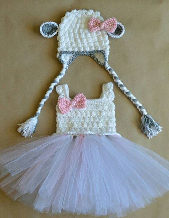 Easter Crochet Lamb Tulle Tutu Dress with Matching Earflap Hat Baby Costume Toddler Girls Handmade Photo Prop Sheep