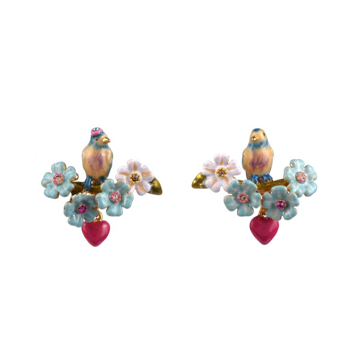 Collection Jardin d'Amour http://shop.lesnereides.com/earrings/2869-couple-of-tits-on-flowered-branch-stud-earrings-3700377792306.html