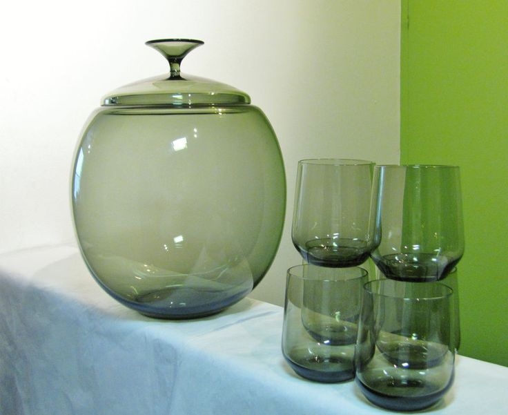 Mid Century Modern 6 Glass Punch Bowl Set Kosta Boda Holmegaard Scandinavian