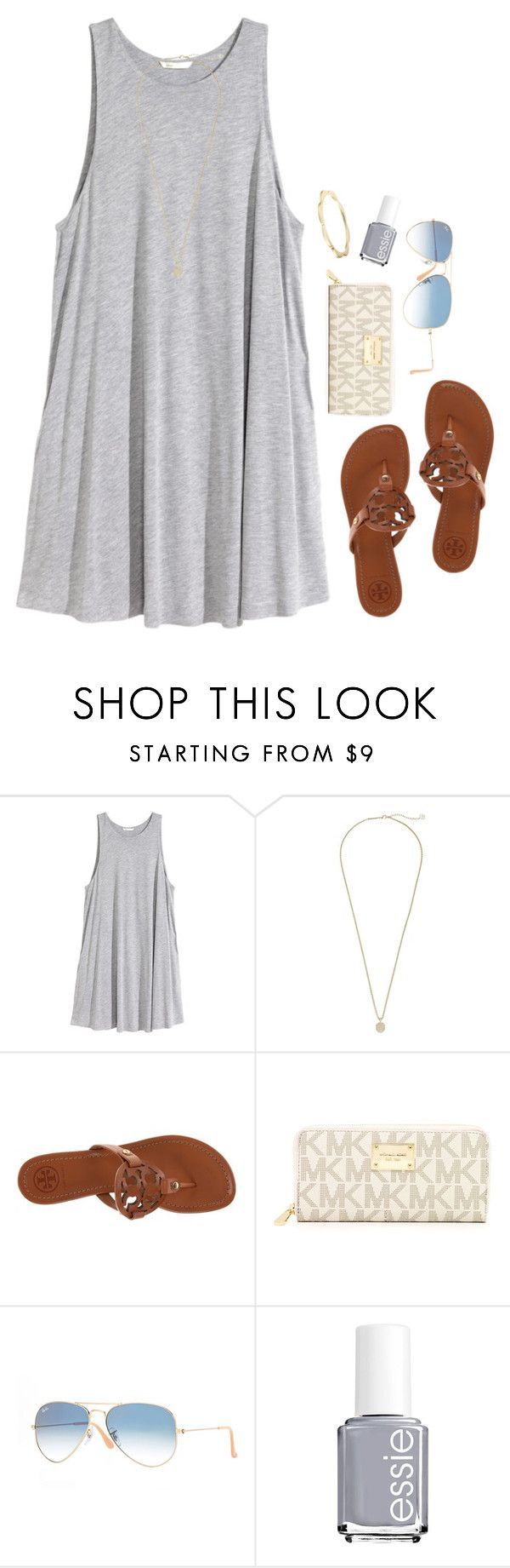 """spring breakkkkk;)))"" by serenag123 ❤ liked on Polyvore featuring H&M, Kendra Scott, Tory Burch, MICHAEL Michael Kors, Ray-Ban, Essie and Kate Spade"