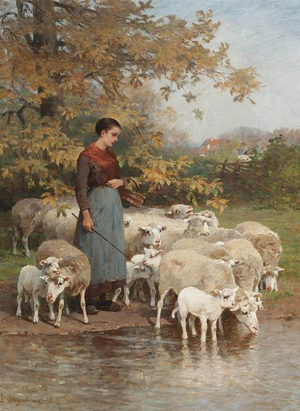 Luigi Chialiva (1842-1914) A Shepherdess Watering Her Flock