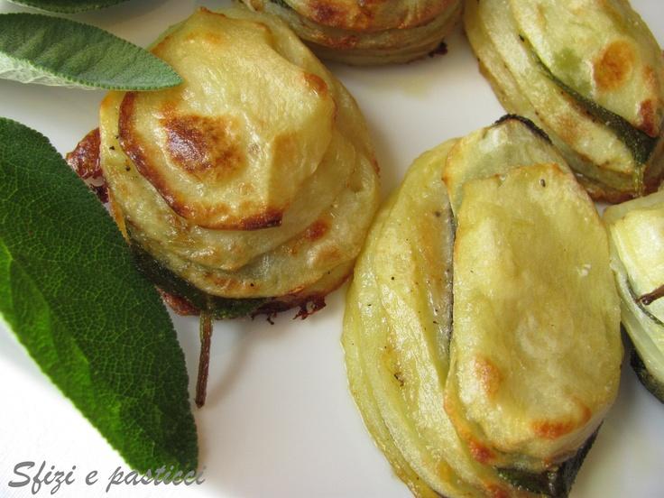 Millefoglie di patate alla salvia e parmigiano
