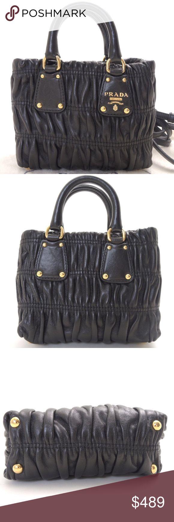 Authentic PRADA leather Mini Shoulder Bag Nappa Brand: PRADA  Material:leather  Style: Shoulder Bag  Color: black Prada Bags Totes