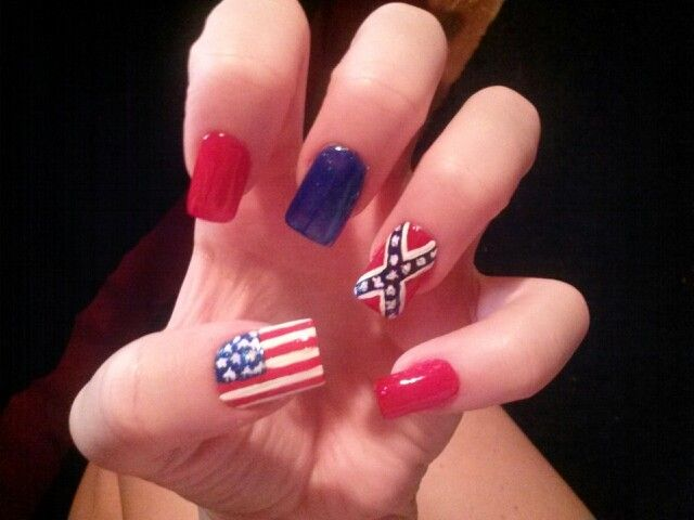 Red white & blue american rebel flag nails