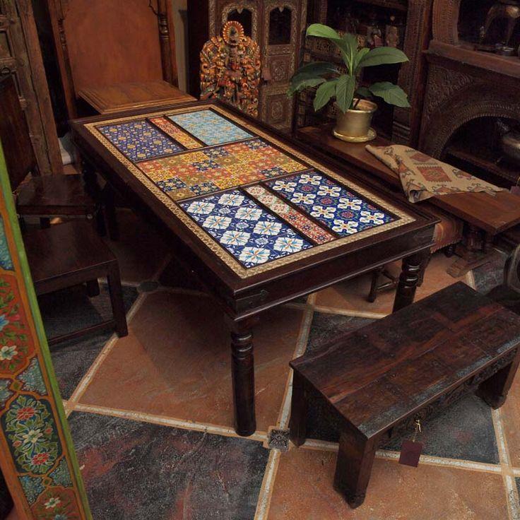 Стол обеденный, измассива дерева, латунь, керамика / Столы обеденные, кухонные / КАТАЛОГ / мебель из массива, Индийская мебель, Восточная мебель