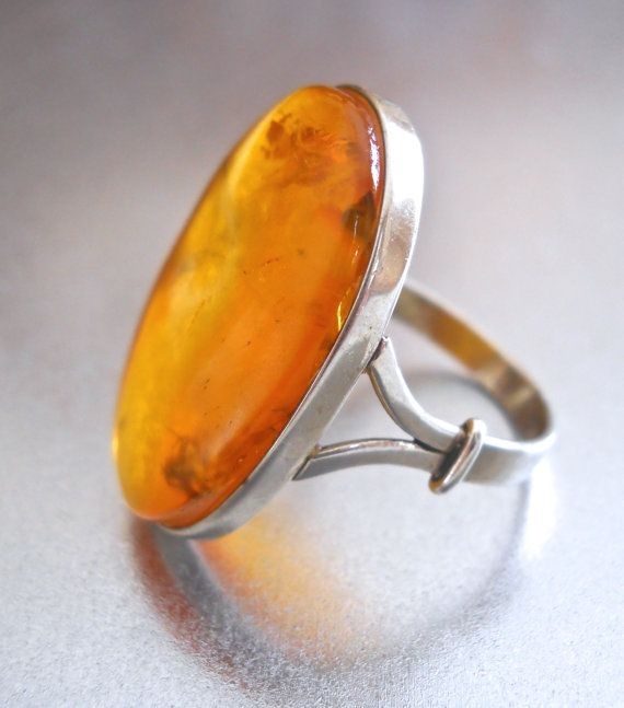 Baltic Honey Amber Sterling Ring Natural Oval by RenaissanceFair