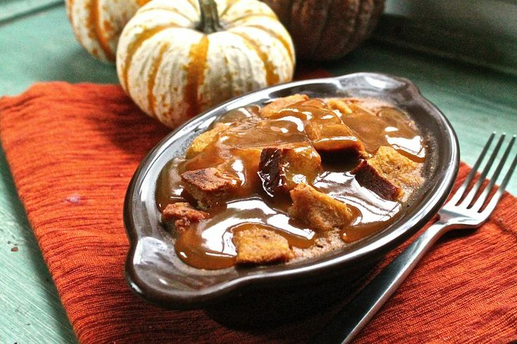 Pumpkin Bread Pudding with homemade vegan challah bread - the Sweet Life