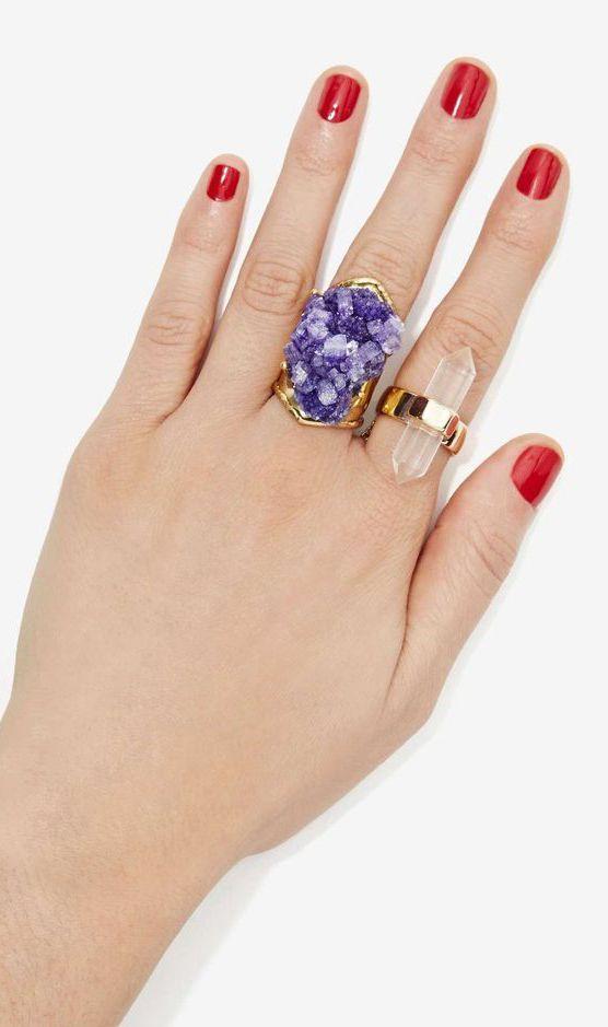 Raw Crystal Rings