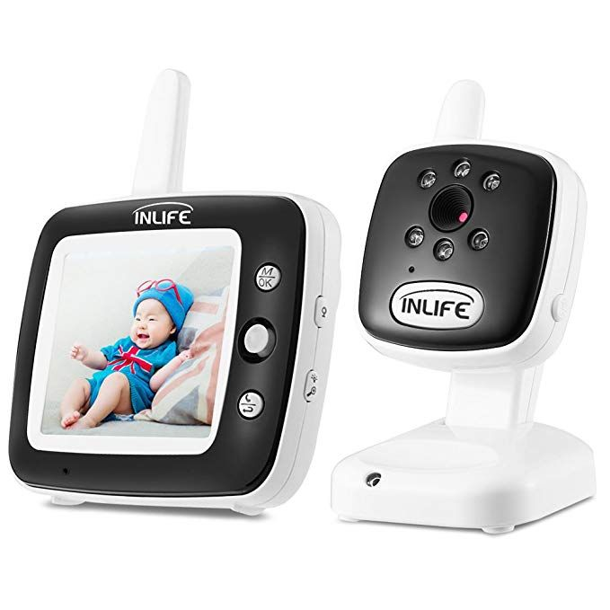 Inlife Video Baby Monitor With Camera Wireless Baby Monitor 3 5 Inch Lcd Display Baby Lullaby Night Vision Temperature Monitoring 2 W Wireless Baby Monitor