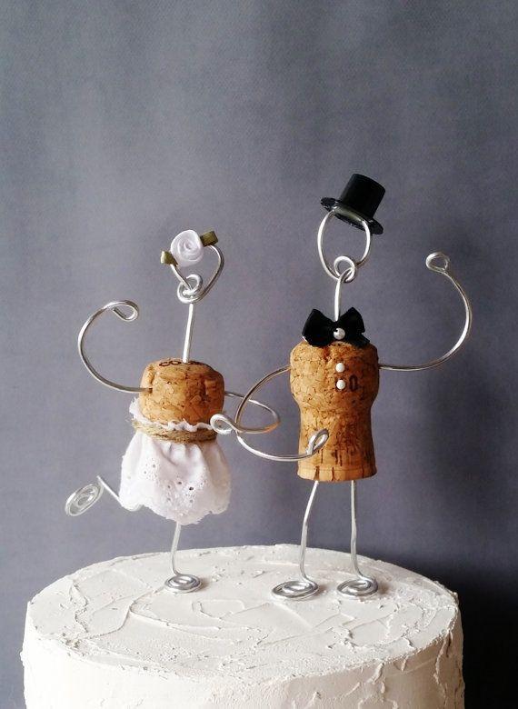 CHAMPAGNE Rustic CORK Wedding Cake Toppers Wine by CorkyFriendz