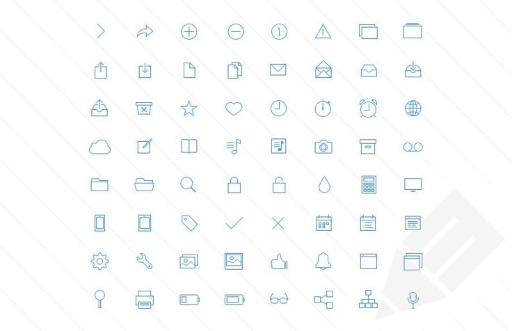 This set features 128 iOS 7 inspired ultra thin vector icons including home, download, new, trash, camera, cloud, user, list, music and more