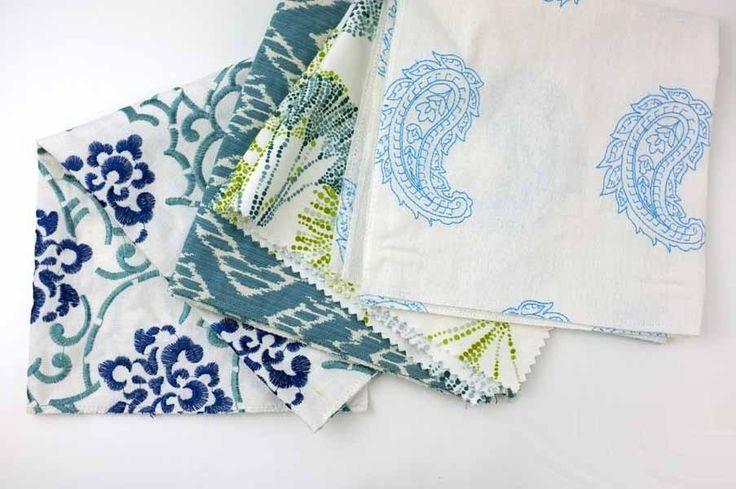 Home Dec Samples - Aqua group, four home dec fabric swatches