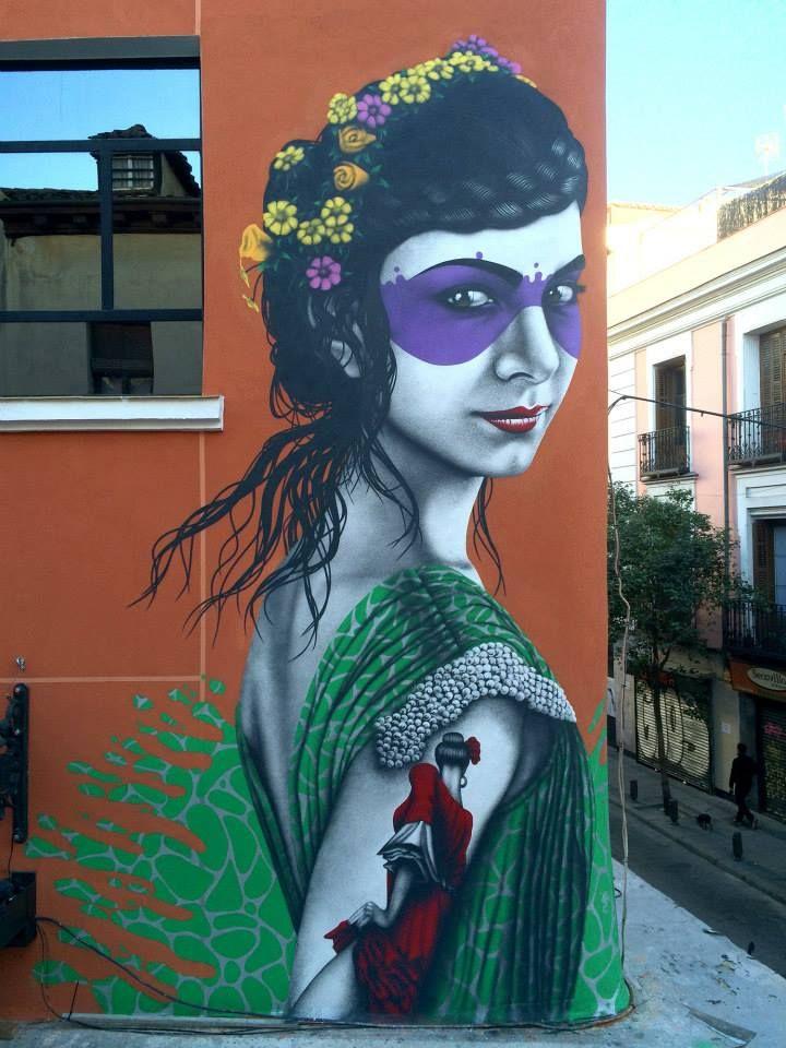 "Wall by Finbarr DAC - ""Isabelita (2012)"" (repainted) - Mercado Anton Martin, Madrid (Spain) - Jan 2015"