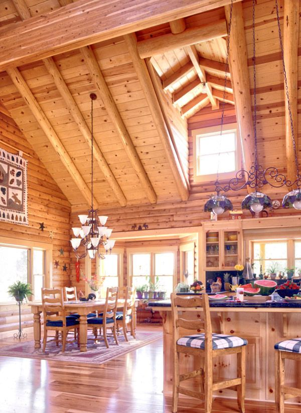 Log home open floor plan interior design pinterest for Open floor plan cabin