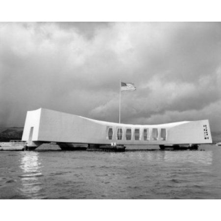 American flag fluttering over a memorial USS Arizona Memorial Pearl Harbor Oahu Hawaii USA Canvas Art - (24 x 36)
